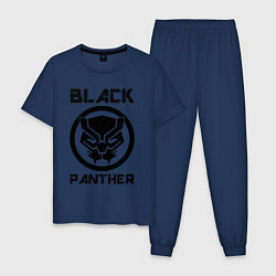 Пижама хлопковая мужская Черная пантера цвета тёмно-синий — фото 1
