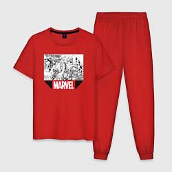 Пижама хлопковая мужская Marvel Prod цвета красный — фото 1