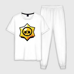 Пижама хлопковая мужская Brawl Stars цвета белый — фото 1