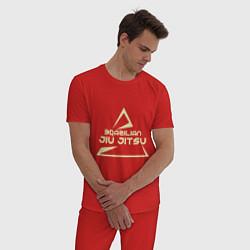 Пижама хлопковая мужская Brazilian Jiu Jitsu цвета красный — фото 2