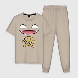 Пижама хлопковая мужская Коффинг цвета миндальный — фото 1