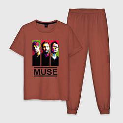 Пижама хлопковая мужская Muse Art цвета кирпичный — фото 1