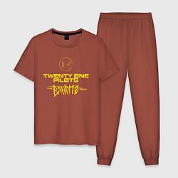 Пижама хлопковая мужская TOP: BANDITO цвета кирпичный — фото 1