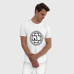 Пижама хлопковая мужская Rammstein Logo цвета белый — фото 2