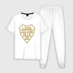 Пижама хлопковая мужская Rammstein: Liebe ist fur alle da цвета белый — фото 1