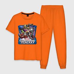 Пижама хлопковая мужская Guardians of the Galaxy цвета оранжевый — фото 1