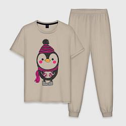 Пижама хлопковая мужская Пингвин в валенках цвета миндальный — фото 1