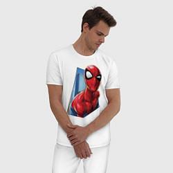 Пижама хлопковая мужская Человек-паук и город цвета белый — фото 2