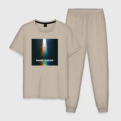 Пижама хлопковая мужская IMAGINE DRAGONS цвета миндальный — фото 1