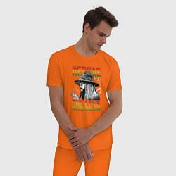 Пижама хлопковая мужская Регги цвета оранжевый — фото 2