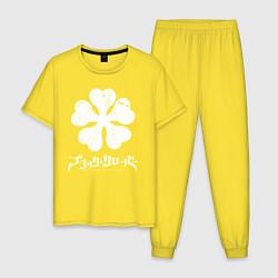 Пижама хлопковая мужская Black Clover цвета желтый — фото 1