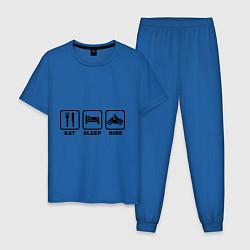 Пижама хлопковая мужская Eat Sleep Ride цвета синий — фото 1