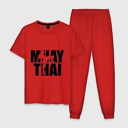Пижама хлопковая мужская Muay thai цвета красный — фото 1