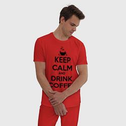 Пижама хлопковая мужская Keep Calm & Drink Coffee цвета красный — фото 2