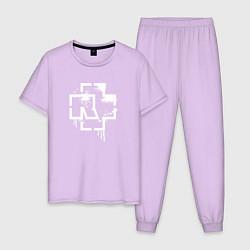 Пижама хлопковая мужская Rammstein: White Logo цвета лаванда — фото 1