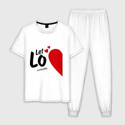 Пижама хлопковая мужская Let Love Create цвета белый — фото 1