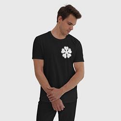 Пижама хлопковая мужская ЧЁРНЫЙ КЛЕВЕР НА СПИНЕ цвета черный — фото 2