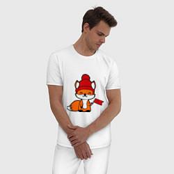 Пижама хлопковая мужская Лисичка с флажком цвета белый — фото 2