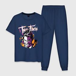 Пижама хлопковая мужская Two-Face цвета тёмно-синий — фото 1