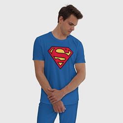 Пижама хлопковая мужская Superman logo цвета синий — фото 2