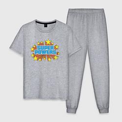 Пижама хлопковая мужская Super Powers цвета меланж — фото 1