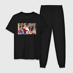 Пижама хлопковая мужская Wow цвета черный — фото 1