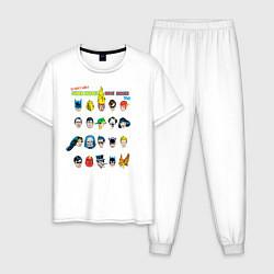 Пижама хлопковая мужская Super heroes have issues too цвета белый — фото 1