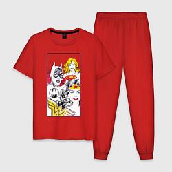 Пижама хлопковая мужская Justice League superheroines цвета красный — фото 1