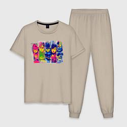 Пижама хлопковая мужская Justice League heroes цвета миндальный — фото 1