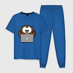 Пижама хлопковая мужская Сова с ноутбуком цвета синий — фото 1