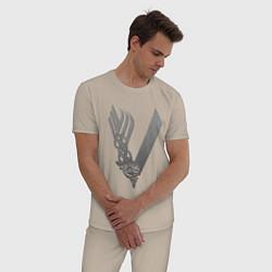 Пижама хлопковая мужская Vikings цвета миндальный — фото 2
