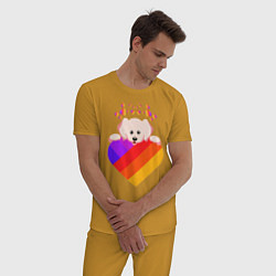 Пижама хлопковая мужская LIKEE цвета горчичный — фото 2