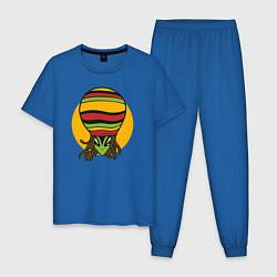 Пижама хлопковая мужская Пришелец Регги цвета синий — фото 1