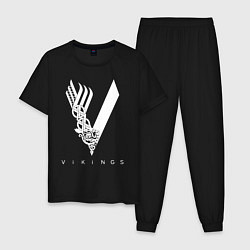 Пижама хлопковая мужская VIKINGS цвета черный — фото 1