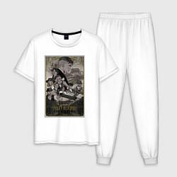 Пижама хлопковая мужская Острые козырьки цвета белый — фото 1