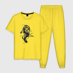 Пижама хлопковая мужская Темная Энергия цвета желтый — фото 1