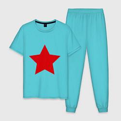 Пижама хлопковая мужская Звезда цвета бирюзовый — фото 1