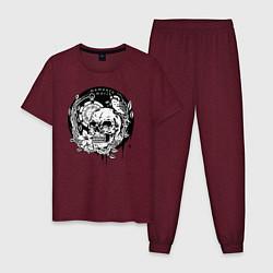 Пижама хлопковая мужская Memento mori цвета меланж-бордовый — фото 1