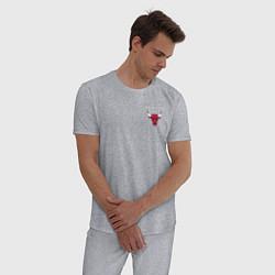 Пижама хлопковая мужская CHICAGO BULLS цвета меланж — фото 2