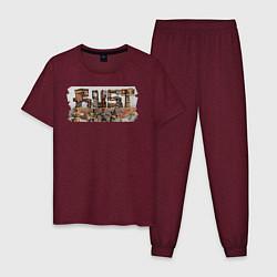 Пижама хлопковая мужская Rust цвета меланж-бордовый — фото 1