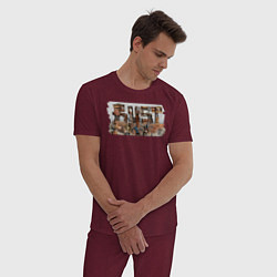 Пижама хлопковая мужская Rust цвета меланж-бордовый — фото 2