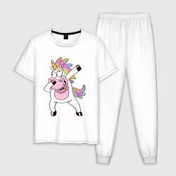 Пижама хлопковая мужская Dabbing Unicorn цвета белый — фото 1