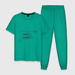 Пижама хлопковая мужская Code - sleep цвета зеленый — фото 1