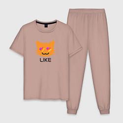 Пижама хлопковая мужская LIKEE: Like Video цвета пыльно-розовый — фото 1