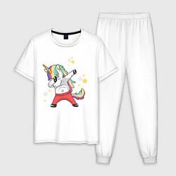 Пижама хлопковая мужская Единорог цвета белый — фото 1