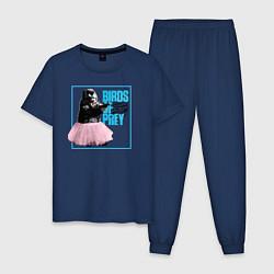 Пижама хлопковая мужская Birds of Prey цвета тёмно-синий — фото 1