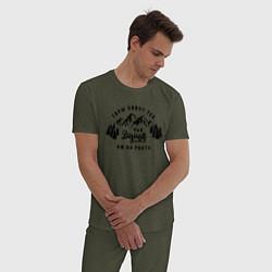 Пижама хлопковая мужская Горы зовут цвета меланж-хаки — фото 2