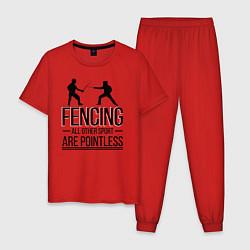 Пижама хлопковая мужская Fencing цвета красный — фото 1