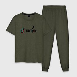 Пижама хлопковая мужская TikTak цвета меланж-хаки — фото 1