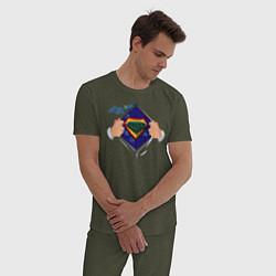 Пижама хлопковая мужская Coder цвета меланж-хаки — фото 2